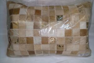 New Design Accents Leather/Velvet Pillow Beige- Gold  - 14 x 20 in.
