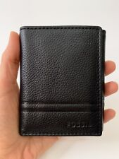 Authentic FOSSIL Black SOFT LEATHER Men's TRIFOLD WALLET New