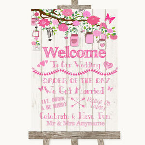 Wedding Sign Poster Print Pink Rustic Wood Welcome Order Of The Day