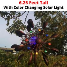 Large Metal Wind Spinner Solar Garden Yard Art Decor Windmill Sculpture Statue
