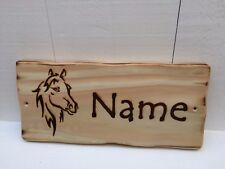 Handmade Personalised Rustic Wooden Pony Horse Stable Stall Name Sign Plaque #1