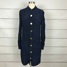 Diana von Furstenberg New Tunis Dress Blue Black Print Size 6 Long Sleeve **READ