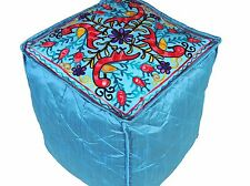 """Blue Cube Peacock Floral Pouf Cover Living Room Ottoman Slipcover Footstool 16"""""""
