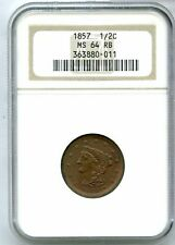 1857 Braided Hair Half Cent NGC MS64 RB 1/2C US Copper Coin - JJ507