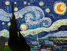Starry night,Van Gogh, 36x48, Hand painted Oil Painting Reproduction on Canvas,