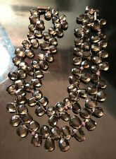 Striking Smoky Topaz w/ Rose Quartz, Hematite Bead Necklace Sterling Silver 925
