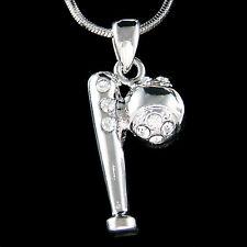 w Swarovski Crystal Baseball Softball Bat Sports Team Chain Necklace Jewelry New