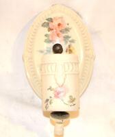 Antique Porcelain Wall Sconce Floral No Shade Oval Design Patterned Trim