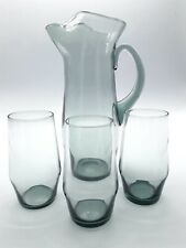 Vintage Hand Made / Blown Glass Jug / Pitcher And Tumblers Smokey Grey / Green
