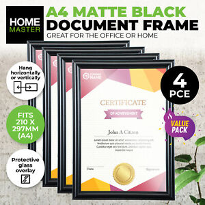 4PCE A4 Document & Certificate Frame Matte Black Bevelled Edge