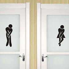 Pegatina Etiqueta Pared WC Tapa Baño Toilets De Puertas Hombre/Mujer Nuevo