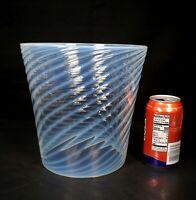 Antique Victorian Opalescent Swirl Glass Oil Lamp Globe Gas Light Shade Blue Hue