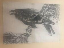 """Raven on a pine branch"" Double book page - Japanese Woodblock Prints - Ukiyo-e"