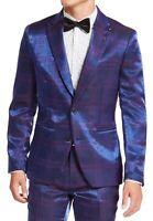 INC Mens Suit Separate Blue Size Large L Slim Fit Iridescent Plaid $149 #197