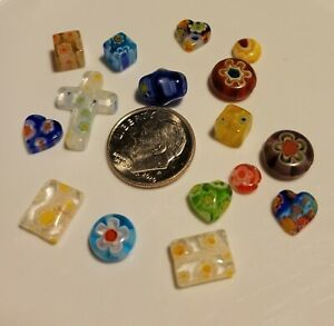 A346  10 to 8mm mixed millefiore glass beads. will combine to save on shipping