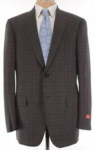 ISAIA NWT Suit Size 46R In Brown & Gray W/ Blue Over Check Wool Base S $3,995