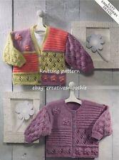 (421) DK Knitting Pattern for Girls Pretty Cardigans, 0-5/6yrs, 16-26'', 6 sizes