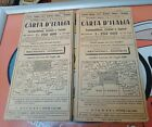 Vintage Italy Maps Linen Backed c.1920 x2 Freepost