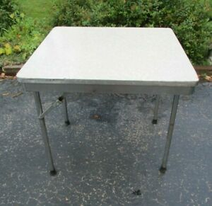 Vintage Mid Century Modern MITCHELL FOLD-O-LEG Gray Formica Chrome square table