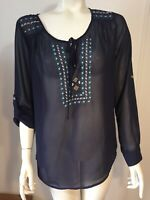 Daniel Rainn Womens Small Navy Blue Sheer Embroidered Boho Peasant Top Roll Tabs