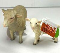 MOJO Sheep Ewe Animal Figure 387096 + Sheep Lamb 387098 Pack of 2 New