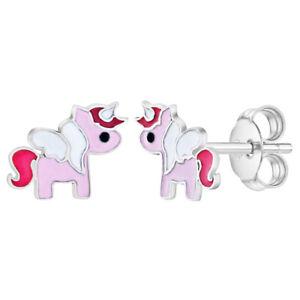 925 Argent Sterling Petit Émail Peint Unicorn Boucles pour Filles & Preteens