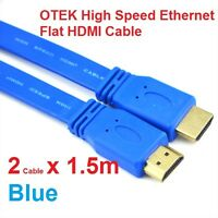 2 x Otek 1.5m HDMI Cable 3D High Speed Ethernet : Brand New