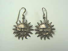 Sterling Silver Earrings Vintage Happy Sun Face .925 925 Pierced