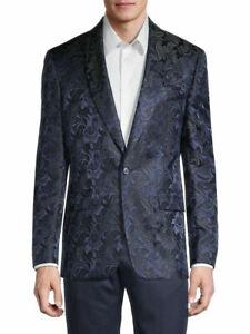 $350 Tallia Slim-Fit Vibrante Paisley Dinner Jacket -Blue- 46Reg