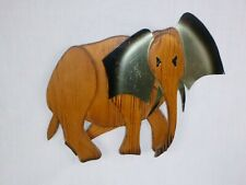 Vtg Mid Century Wood Metal Wall Art Elephant Hand Crafted Masketeers Style