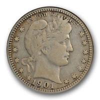 1901 O 25C Barber Quarter ANACS F 12 Fine New Orleans Mint Better Date Old Ho...
