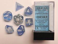 Chessex 7 Dice Set Borealis Sky Blue w/ White CHX 27426 for D&D & D20