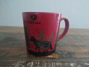 MOSSY OAK COFFEE MUG wolf in the woods red black 16oz tea cup forest large euc