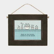East of India Happy on the Outside Wooden Plaque, Hanging Sign