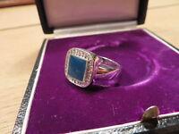 Bezaubernder 925 Sterling Silber Designer Siegelring Blauer Stein Zirkonia Edel