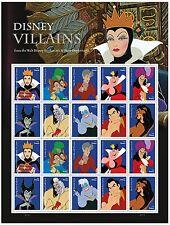 USPS Disney Villains Full Pane of 20 Stamps (1 Sheet) Ursula Scar Snow White
