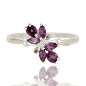 Amethyst White Topaz 925 Sterling Silver Ring Wedding Gifts For Bride Jewelry