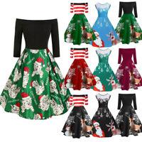 Christmas Women Off Shoulder Print Vintage Evening Party Dress Flare Dress