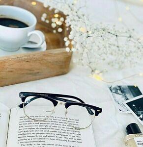 Eyeglasses Gafas CLUB Half Rim Women  Wayf Clear Lens Shadz Metal Bottom SHADZ