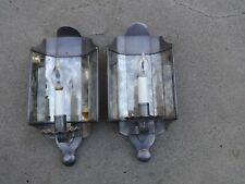 Vintage Matching Pair Sconce Candelabra Light Fixtures Mirror Back Pewter Color