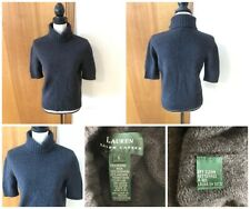 Ralph Lauren Misses L Gray Wool Cashmere Angora Nylon Ss Turtleneck Sweater Vtg