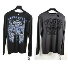 Affliction mens Thermal Long Sleeve Reversible shirt Live Fast Black & Gray 2XL