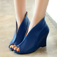 Women Pumps Shoes Peep Toe Slip On Wedge High Heel Party Dress Wedding Sandals