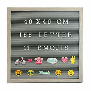 Grau Rustikal Rahmen Nachricht Brett 188 Weiß Brief 11 Emojis Größe 40 x 40cm
