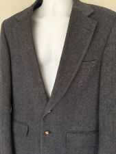 ROBERT STOCK 40L Mens 100% Wool Blue & Tan Herringbone Tweed Sport Coat Jacket