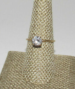 14K Yellow Gold CZ Cubic Zirconia Solitaire Ring 1 Carat Engagement Size 7.75