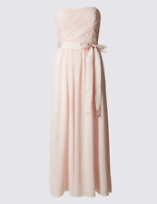 M&S Marks Spencer Pleated Maxi Dress Detachable Straps Prom/Bridesmaid Pink BNWT