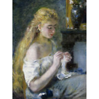 Pierre Auguste Renoir Woman Crocheting C1875 Painting Canvas Wall Art Print Post