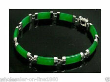 Pretty Natural Green Jade Gemstone white gold plate Fortune Lucky Link Bracelet
