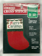 "Christmas Sock Cross Stitch KIT 8"" stitch Merry Christmas on the cuff NIP #9805"